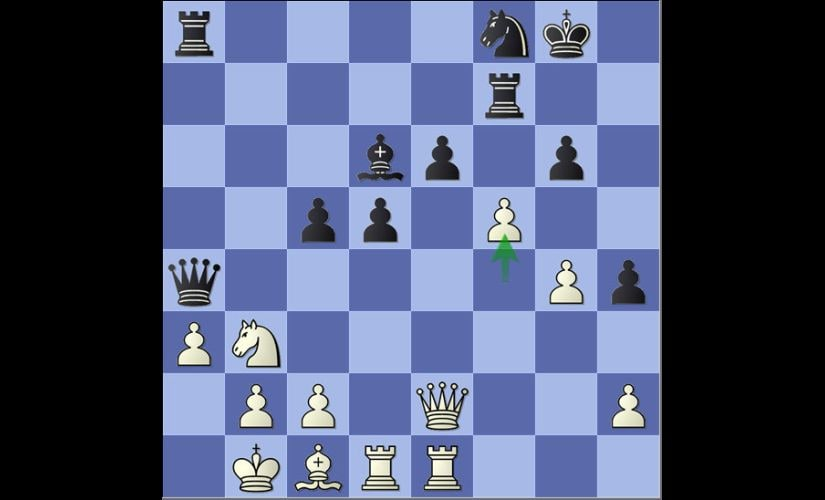 The most crucial moment of the decisive game between Sethuraman and Nigel Short. In a tense position Sethu's 31.f5, which ultimately opened roads towards the Black King and resulted in White winning the game.