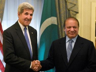 Pakistan PM Nawaz Sharif with US Secretary of State John Kerry. AP