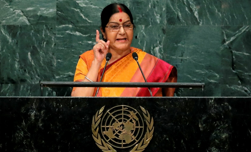 External Affairs Minister Sushma Swaraj during the speech. Reuters