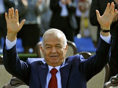 FILE - In this Saturday, March 21, 2015 file photo, Uzbekistan's President Islam Karimov greets people during the festivities marking the Navruz holiday in Tashkent, Uzbekistan. The Interfax news agency Friday Sept. 2, 2016 cites an Uzbek government statement saying President Islam Karimov is dead. (AP Photo/File)
