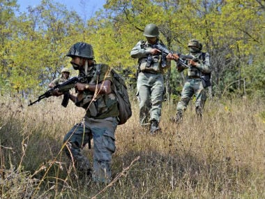 File image of CRPF personnel engaged in a combing operation. PTI