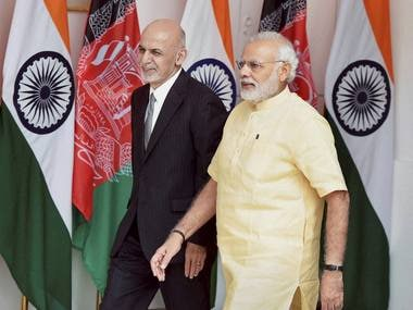 Prime Minister Narendra Modi and Afghan President Ashraf Ghani in New Delhi on Wednesday. PTI