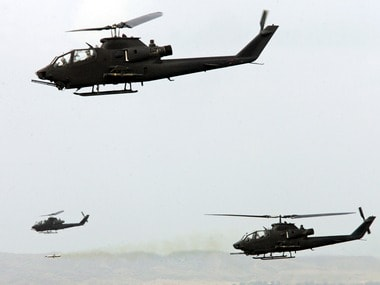 Helicopters take part in a Pakistani air force's exercise. Reuters