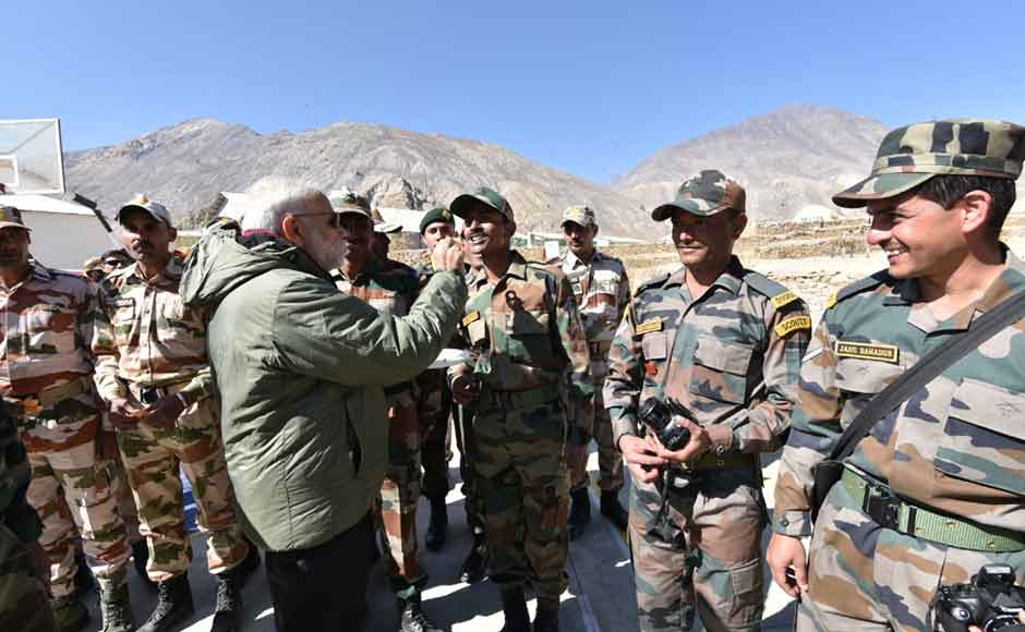 Prime Minister Narendra Modi celebrated Diwali with Indo-Tibet Border Police and Army jawans at Sumdo, Kinnaur district of Himachal Pradesh. (Photo: Twitter@ narendramodi)