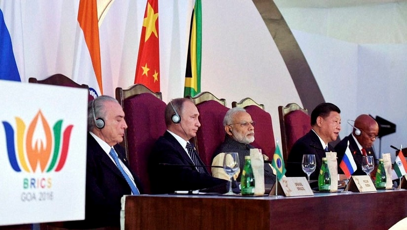 Benaulim: Prime Minister Narendra Modi, Brazilian President Michel Temer, Russian President Vladimir Putin, Chinese President Xi Jinping and South African President Jacob Zuma at the press statement during the Brics Summit in Goa on Sunday. PTI