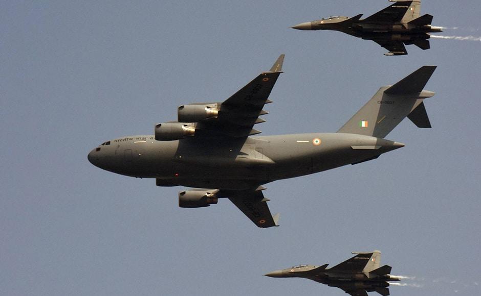 The air power display included C-17 Globemaster, Su-30 MKIs, Jaguar, Mig-21 Bisons, Mig-29 and Mirage 2000. Naresh Sharma
