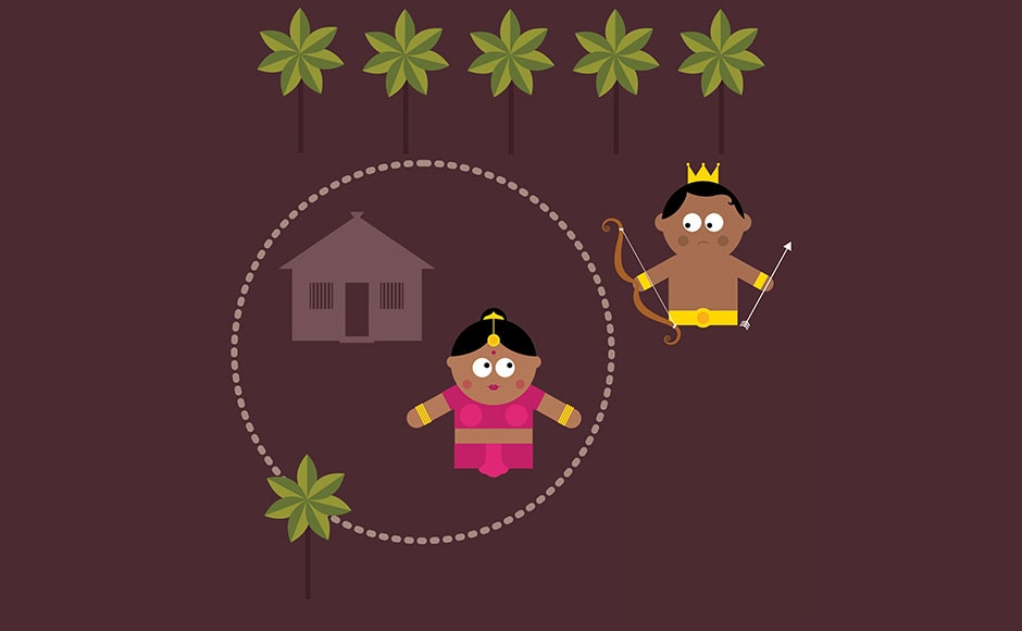While Lakshman was guarding Sita, he heard Ram's cries from within the forest. But before setting out, he drew a magical boundary around the cottage to protect Sita.