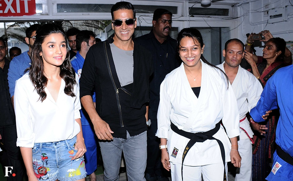 Thackeray, Bhatt and Kumar attended the graduation day of the Self-defense centre. Sachin Gokhale/Firstpost