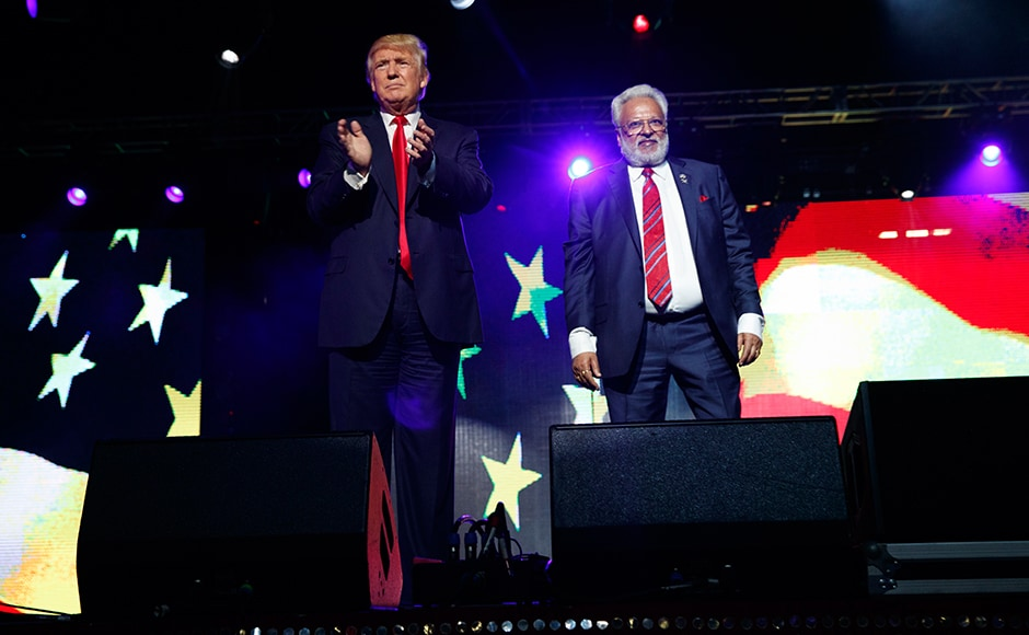 Donald Trump (left) with Shalabh Kumar (right), chairman of the Republican Hindu Coalition. AP
