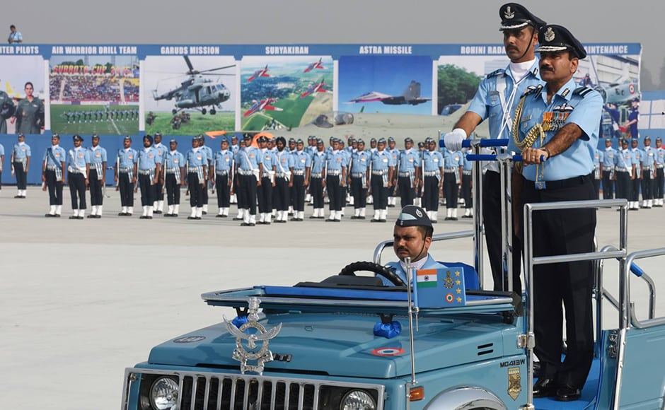 Indian Air Force chief Arup Raha inspects theparade at the 84th Air Force Day celebrations. In his customary address at the celebrations, Raha, who is also the chairman of the Chiefs of Staff Committee said,