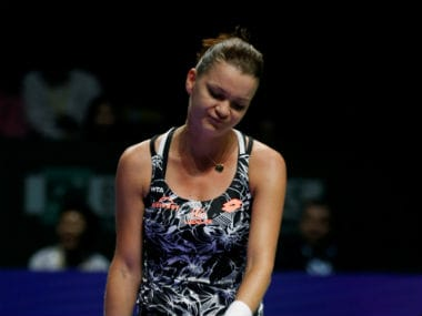 Agnieszka Radwanska reacts after losing a point during her match against Svetlana Kuznetsova. Reuters
