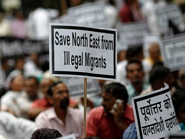 A file photo of members of national interest group linked to northeast wing of Bharatiya Janata Party (BJP) holding placards against illegal migration in the North East in 2012. The BJP has now proposed an amendment to offer Indian citizenship to a section of migrants in Assam. Reuters