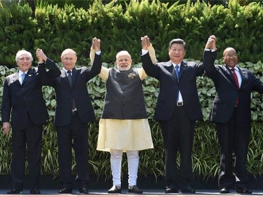 Prime Minister Narendra Modi with other Brics leaders in Goa. PTI