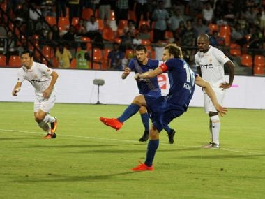 Mumbai City FC's Diego Forlan takes a penalty against NEUFC in the first leg. ISL
