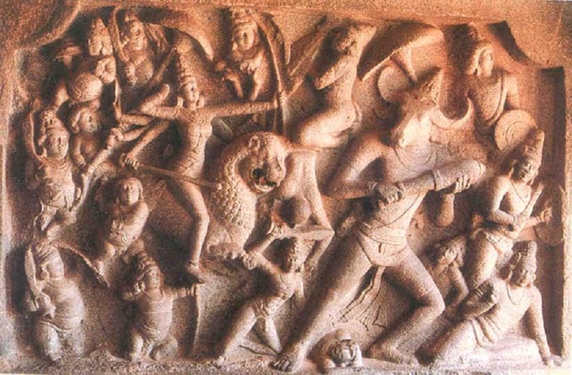 Durga engaged in combat with Mahisha, reminiscent of our own internal combat. Sculpture at Mammallapuram Caves, India. Image courtesy: columbia. edu