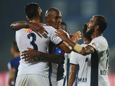 FC Goa players celebrate winning an ISL match against Mumbai City FC. ISL