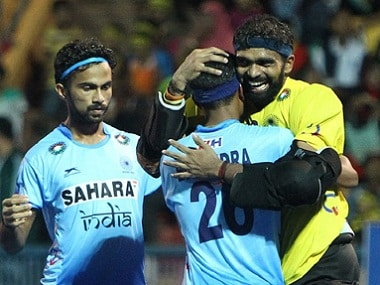 Goalkeeper PR Sreejesh's heroics helped India win the semi-final over South Korea. Image courtesy: Twitter @TheHockeyIndia
