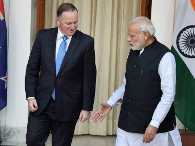 Prime Minister Narendra Modi with his New Zealand counterpart Joh Key in New Delhi. PTI
