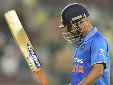 MS Dhoni was back dejectedly after getting dismissed for 39. PTI