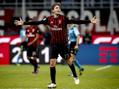 AC Milan's 18-year-old midfielder Manuel Locatelli beat Juventus' 38-year-old goalkeeper Gianluigi Buffon. AFP