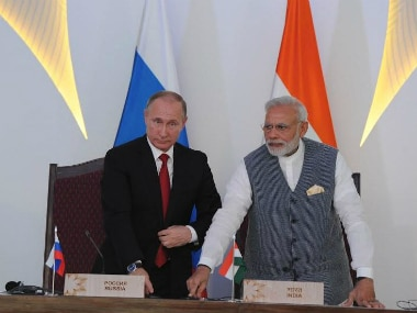 Prime Minister Narendra Modi and Russian President Vladimir Putin during the joint statement ahead of Brics summit in Goa on Saturday. Image: PIB