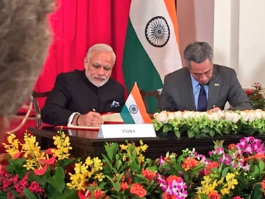 A file image of Narendra Modi and Singapore prime minister Lee Hsien Loong. PTI