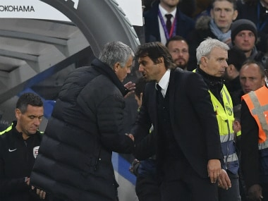 File image of Jose Mourinho (L) and Antonio Conte. AFP