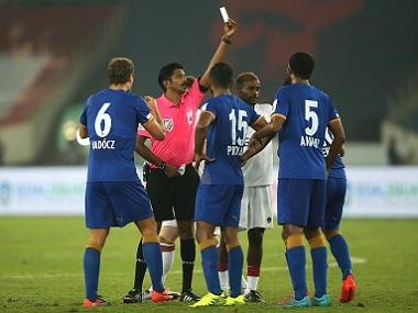 Mumbai City FC's Sehnaj Singh got a red card against Delhi Dynamos. ISL