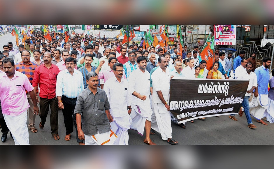 BJP activists also took out a protest march in Kozhikode as part of their statewide strike. Some two-wheelers and private vehicles were seen plying around in urban areas but it was a different scenario in the rural areas. Photo: PTI