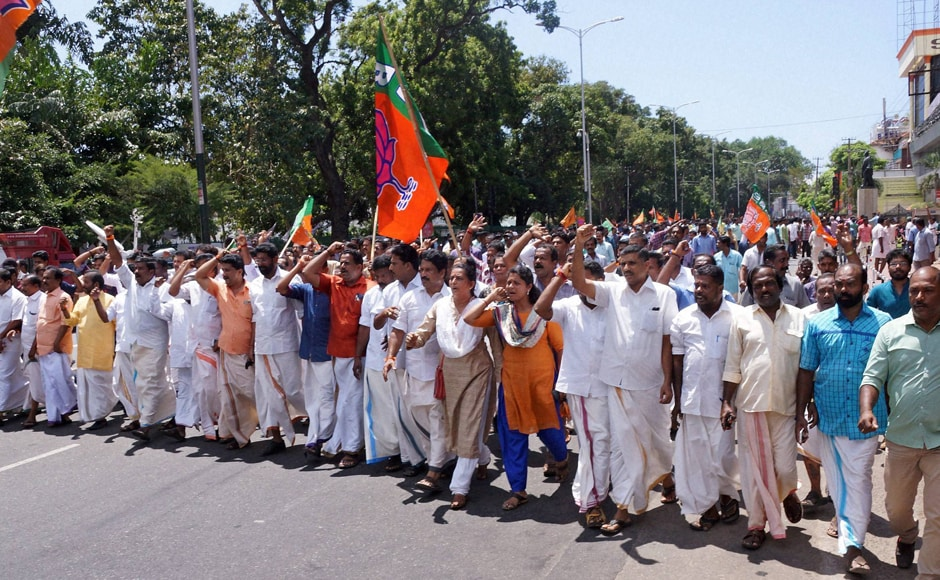 The Bharatiya Janata Party's Kerala unit called for a state shutdown to protest against the murder of one of its activists in Kannur. Party activists took out a march to the Secretariat in Thiruvananthapuram. Photo: PTI