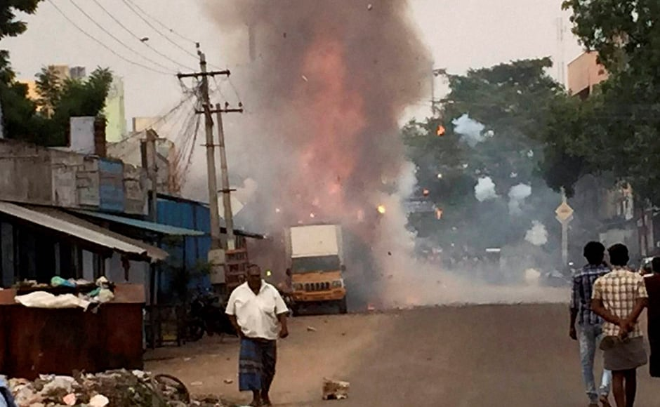 A crackers godown catches fire in Sivakasi in Tamil Nadu on Thursday. The incident happened when workers were loading crackers onto a truck. PTI