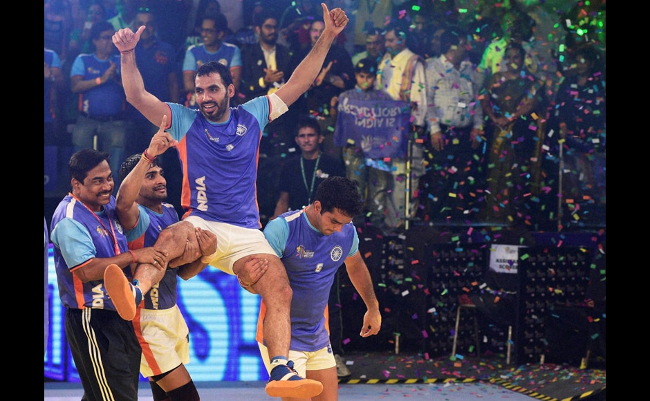 Captain Anup Kumar was hoisted up by his teammates after India's victory. His leadership shone throughout the game. PTI