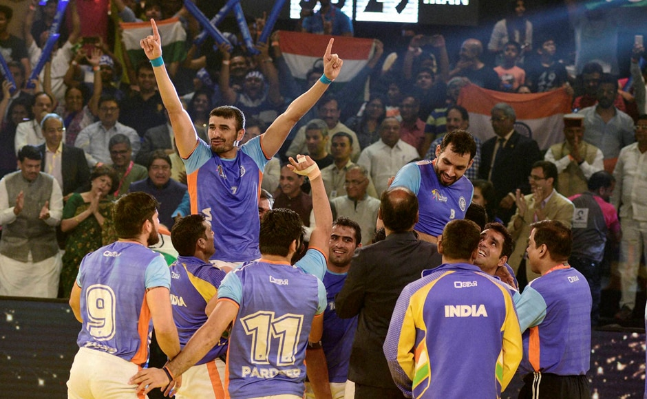 An ecstatic moment for the country as the Kabaddi World Cup trophy stays in India! PTI