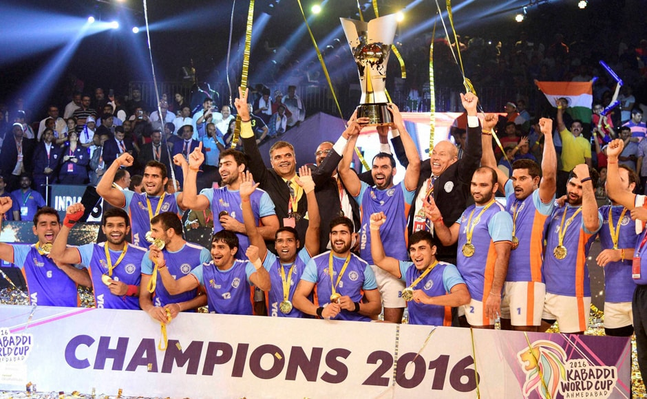 Indian players celebrate with the winning trophy after beating Iran in the final of the Kabaddi World Cup 2016 in Ahmedabad on Saturday. This is India's third Kabaddi World Cup victory on the trott. PTI