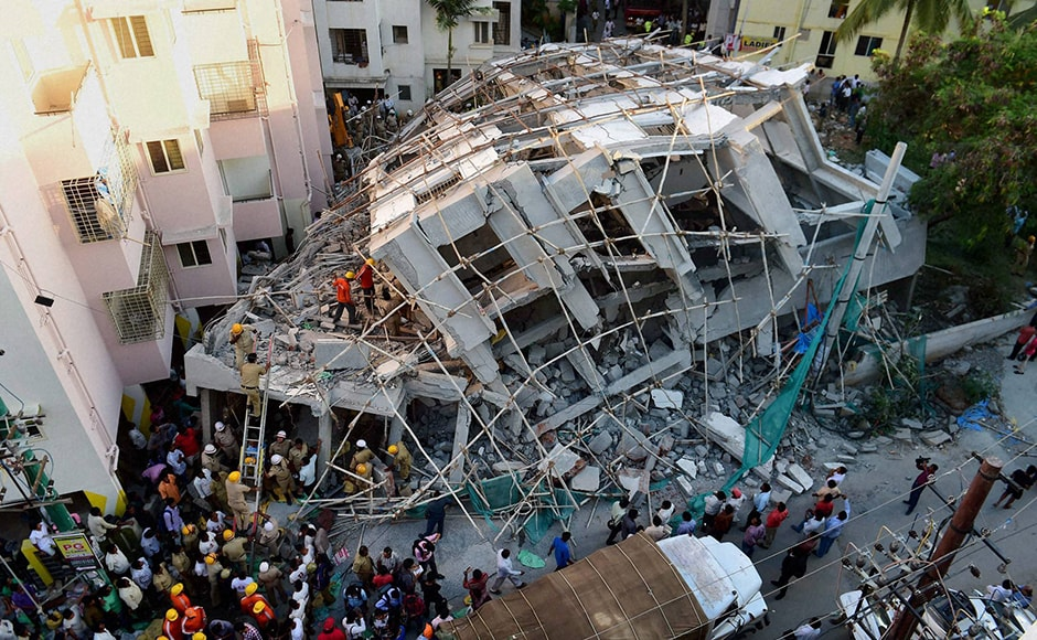 Bengaluru Mayor G Padmavati visited the spot and said quality issues in the construction was the main reason for the mishap. Photo: PTI