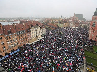 People taking part in a nationwide 'Black Monday' strike to protest a legislative proposal for a total ban on abortion in Poland. AP