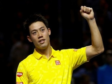 Kei Nishikori reacts after defeating Gilles Muller at the Swiss Indoors. Reuters