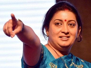 One of the very few women ministers Smriti Irani. PTI