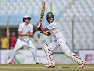 Bangladesh batsman Tamim Iqbal in action against England. AP