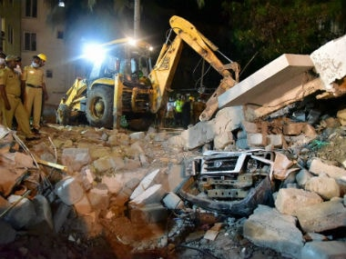 Debris being cleared from the site. PTI