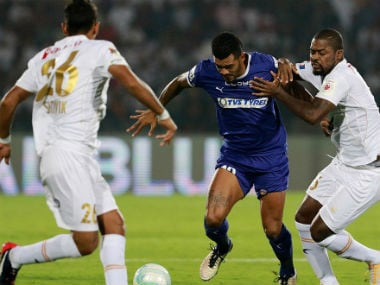 Action in the match between Chennaiyin FC and NEUFC. ISL