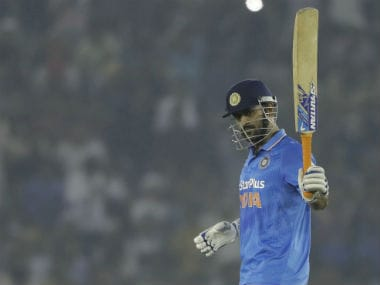 MS Dhoni after scoring a half-century against New Zealand at Mohali. AP
