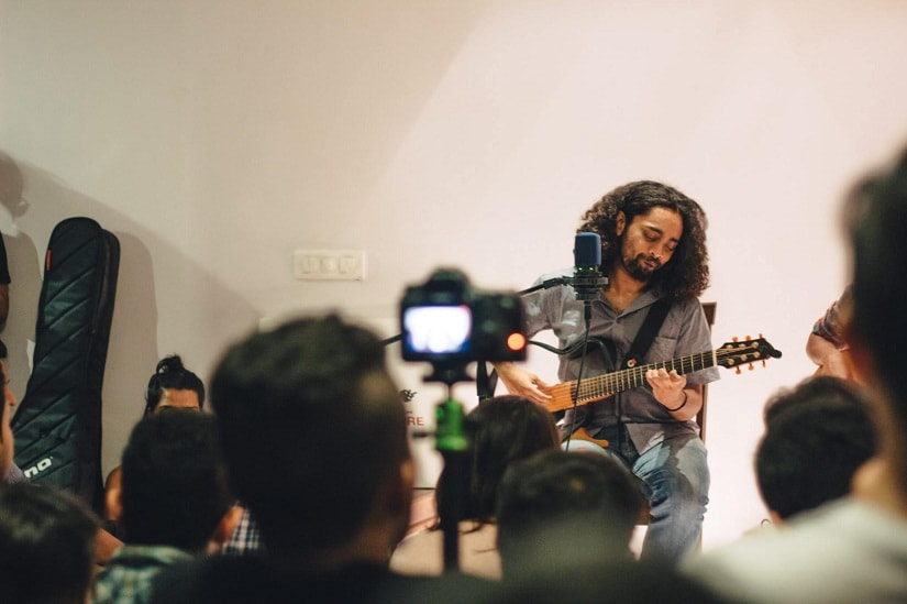 Michael Antony Dias performs at a Sofar gig in Bengaluru. Image courtesy Gurpreet Kaur