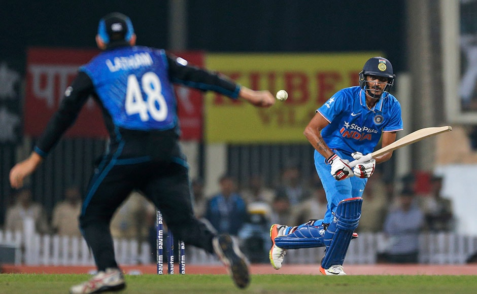 India's Axar Patel plays a shot during the forth one-day international cricket match against New Zealand in Ranchi, India, Wednesday, Oct. 26, 2016. (AP Photo/Rajanish Kakade)