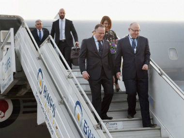 New Zealand PM John Key arrives in India. PTI