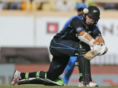 Tom Latham plays a shot during the fourth ODI against India in Ranchi. AP
