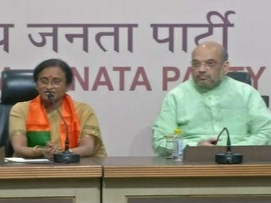 Rita Bahuguna Joshi and BJP chief Amit Shah addressing the press conference. CNN-News18