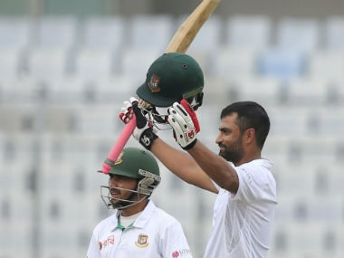 Tamim Iqbal acknowledges the crowd after scoring a century during Day 1 of the second Test against England. AP