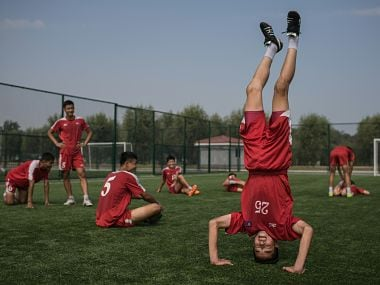File image of the students at North Korea's football academy. AFP