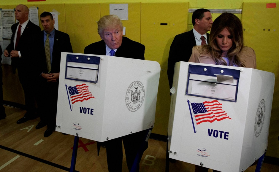Republican presidential candidate Donald Trump, and his wife Melania, casts their ballots in New York. AP